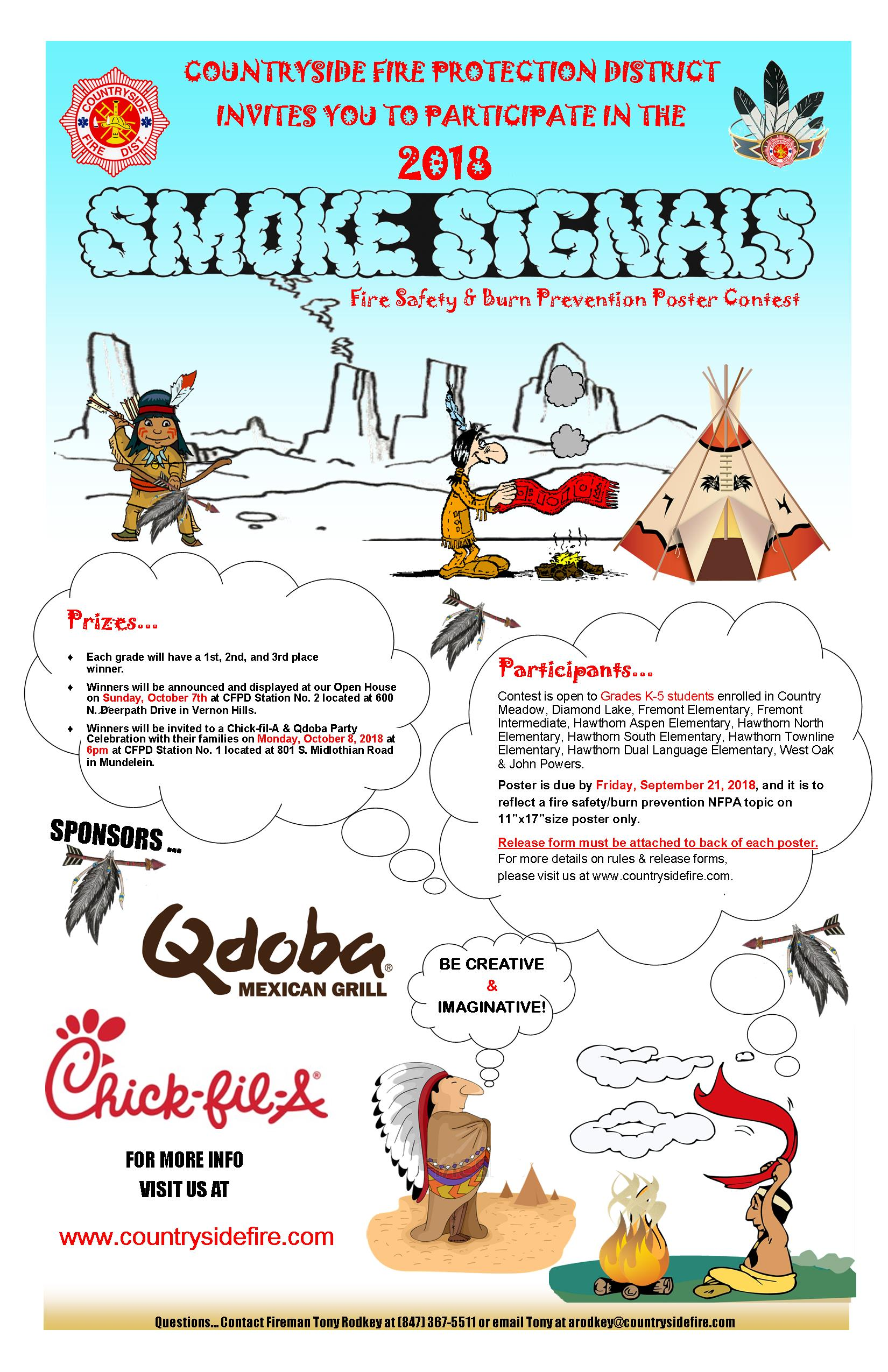 2018 K-5th Grade Smoke Signals Fire Safety & Burn Prevention Poster